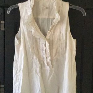 Sleeveless poplin blouse, with ruffle detail
